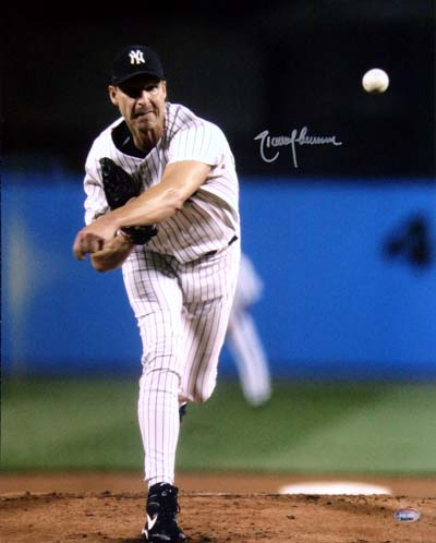 Randy Johnson New York Yankees MLB Hand Signed 16x20 Photograph Pitching