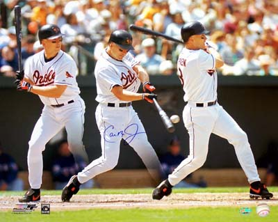 Cal Ripken Jr Baltimore Orioles MLB Hand Signed 16x20 Photograph Quadruple Exposure Batting