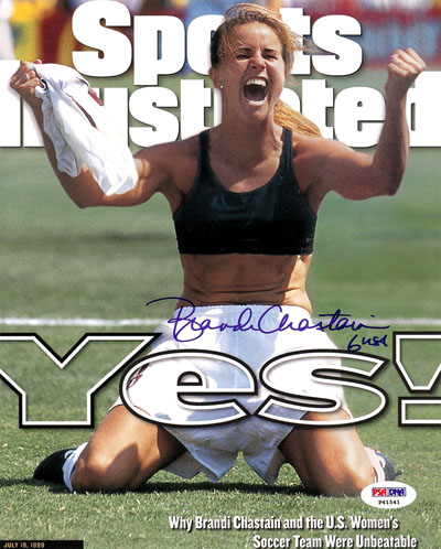 Brandi Chastain USA Soccer Olympics Hand Signed 16x20 Photograph Sports Illustrated Cover