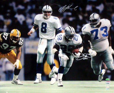 Emmitt Smith & Troy Aikman Dallas Cowboys NFL Hand Signed 16x20 Photograph Hand Off vs Green Bay Packers