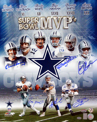 Emmitt Smith, Troy Aikman, Roger Staubach, Larry Brown, Chuck Howley & Randy White Dallas Cowboys NFL Hand Signed 16x20 Photograph Super Bowl MVP Collage