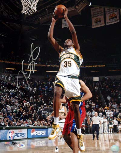 Kevin Durant Seattle Supersonics NBA Hand Signed 16x20 Photograph Dunking