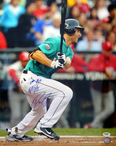 Dustin Ackley Seattle Mariners MLB Hand Signed 16x20 Photograph Alternate Jersey Inscribed 1st Hit 6/17/11