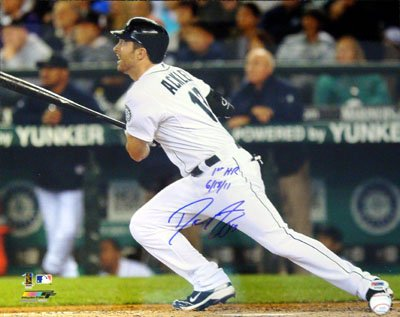 Dustin Ackley Seattle Mariners MLB Hand Signed 16x20 Photograph Home Jersey Inscribed 1st HR 6/18/11