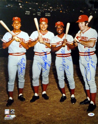 Big Red Machine Cincinnati Reds MLB Hand Signed 16x20 Photograph 4 Signatures
