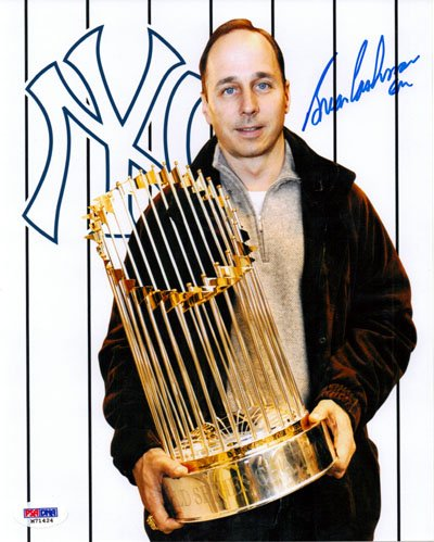 Brian Cashman New York Yankees MLB Hand Signed 8x10 Photograph with World Series Trophy