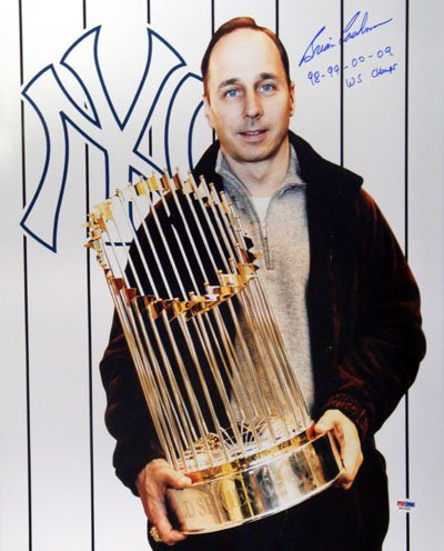 Brian Cashman New York Yankees MLB Hand Signed 16x20 Photograph with World Series Trophy