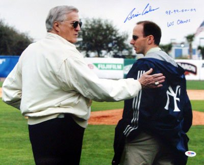 Brian Cashman New York Yankees MLB Hand Signed 16x20 Photograph with George Steinbrenner