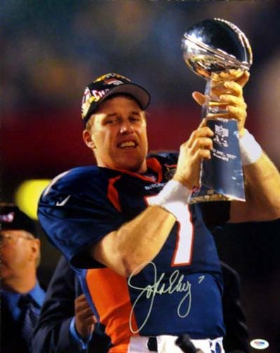 John Elway Denver Broncos NFL Hand Signed 16x20 Photograph Super Bowl Trophy