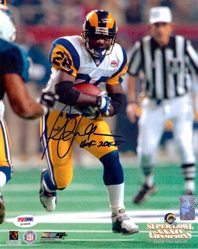 Marshall Faulk St Louis Rams NFL Hand Signed 8x10 Photograph Super Bowl Rushing