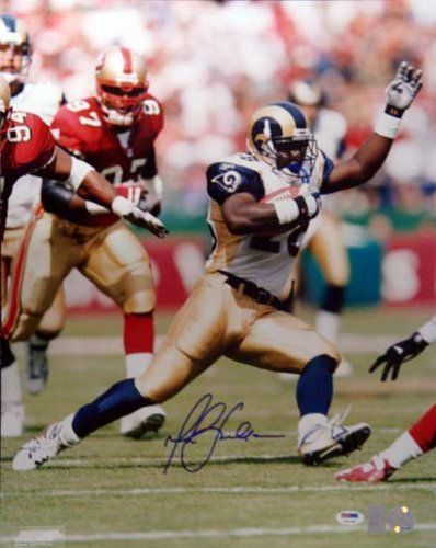 Marshall Faulk St Louis Rams NFL Hand Signed 16x20 Photograph White Jersey Vertical