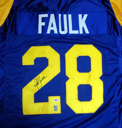 Marshall Faulk St Louis Rams NFL Hand Signed Authentic Style Blue Jersey