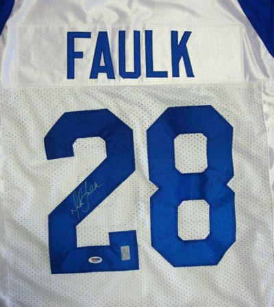 Marshall Faulk St Louis Rams NFL Hand Signed Authentic Style White Jersey