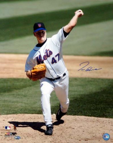 Tom Glavine New York Mets MLB Hand Signed 16x20 Photograph White Jersey