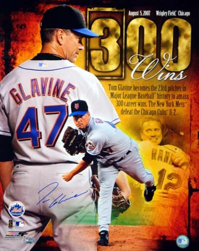 Tom Glavine New York Mets MLB Hand Signed 16x20 Photograph 300 Win Collage