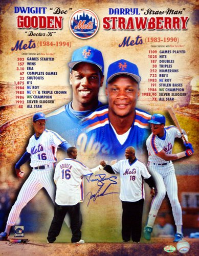 Dwight Gooden & Darryl Strawberry New York Mets MLB Hand Signed 16x20 Photograph Collage