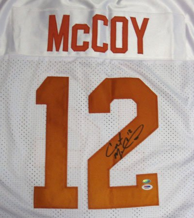 Colt McCoy Texas Longhorns NCAA Hand Signed Authentic Style White Jersey
