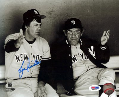 Lou Piniella New York Yankees MLB Hand Signed 8x10 Photograph with Yogi Berra