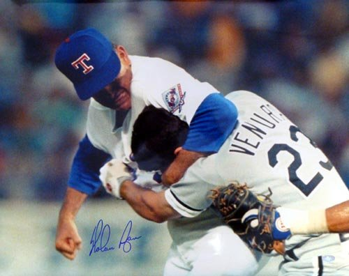 Nolan Ryan Texas Rangers MLB Hand Signed 16x20 Photograph Fight with Robin Ventura