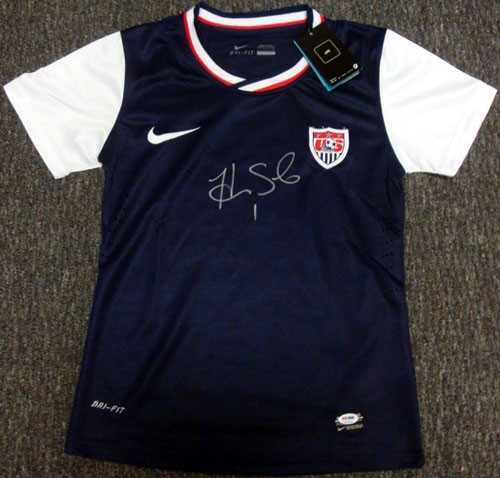 Hope Solo Team USA Soccer Hand Signed Authentic Style Blue Jersey