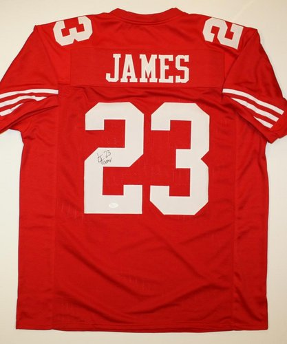 LeMichael James San Francisco 49ers NFL Hand Signed Authentic Style Red Jersey
