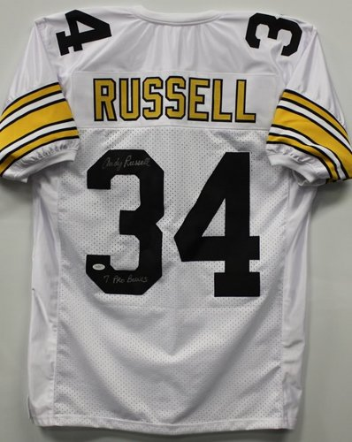 Andy Russell Pittsburgh Steelers NFL Hand Signed Authentic Style White Jersey