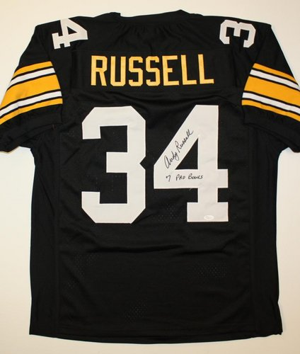 Andy Russell Pittsburgh Steelers NFL Hand Signed Authentic Style Black Jersey