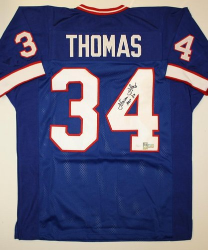 Thurman Thomas Buffalo Bills NFL Hand Signed Authentic Style Blue Jersey