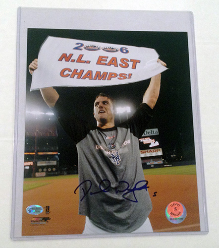David Wright New York Mets MLB Hand Signed 8x10 Photograph 2006 NL East Banner