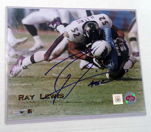 Ray Lewis Baltimore Ravens NFL Hand Signed 8x10 Photograph Sacking