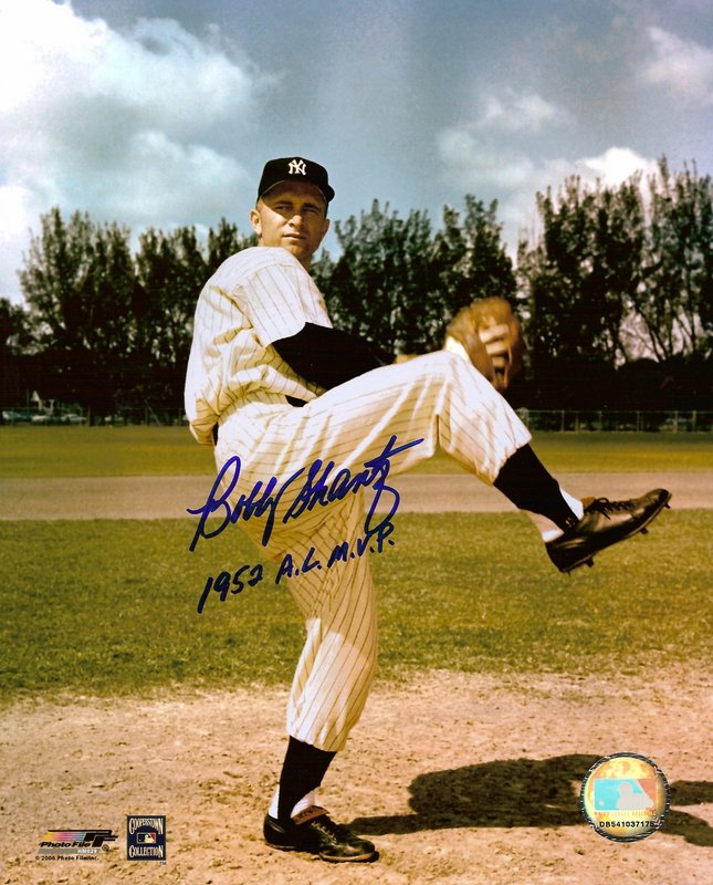 Bobby Shantz New York Yankees Hand Signed 8x10 Photograph with 1952 AL MVP Inscription