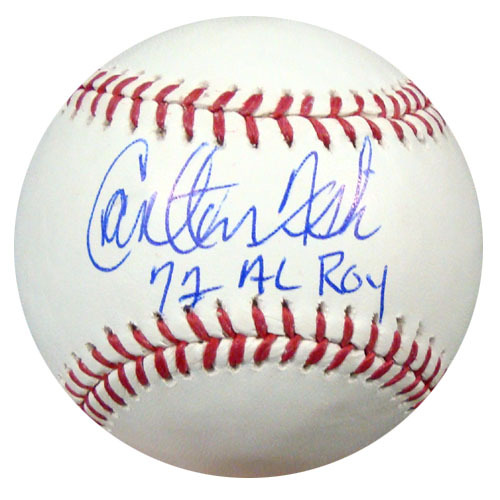 Carlton Fisk Boston Red Sox Hand Signed Rawlings MLB Baseball with 72 AL ROY inscription