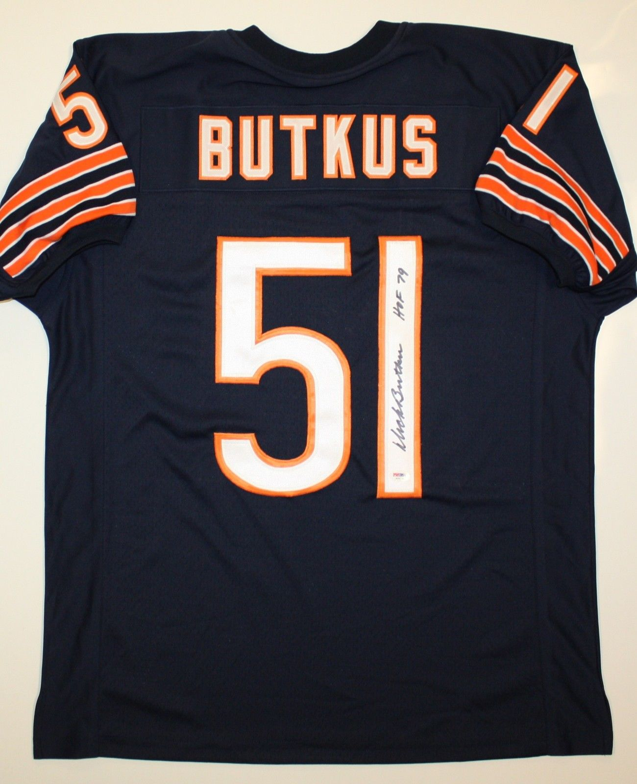 Dick Butkus Chicago Bears NFL Hand Signed Authentic Style Navy Jersey