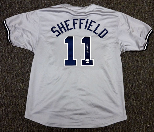 Gary Sheffield New York Yankees MLB Hand Signed Authentic Style Gray Jersey