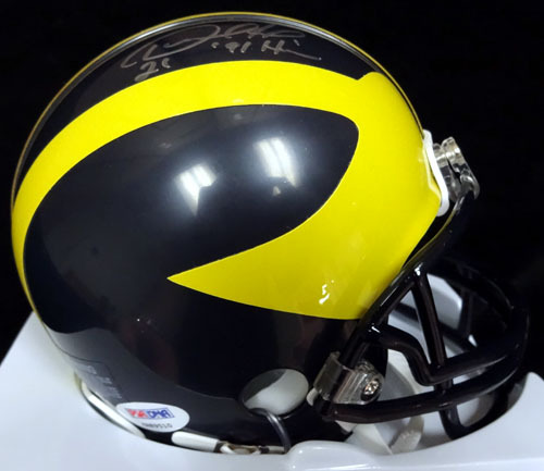 Desmond Howard Michigan Wolverines NCAA Hand Signed Mini Helmet with 91 Heisman Inscription