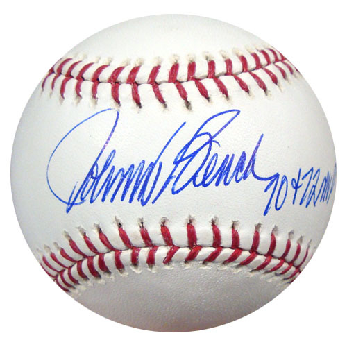 Johnny Bench Cincinnati Reds Hand Signed Rawlings MLB Baseball with 70-72 MVP Inscription