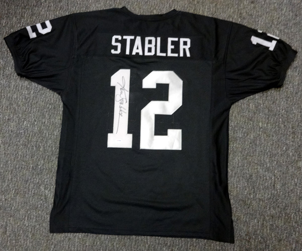 Ken Stabler Oakland Raiders NFL Hand Signed Authentic Style Black Jersey